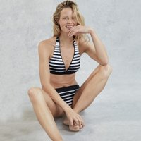 Gradual Stripe Bikini Top, White/Black, 16