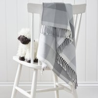 Grey Gingham Check Baby Blanket, Grey, One Size