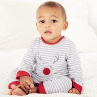 Grey Jingles Sleepsuit, Grey Stripe, 6-9mths