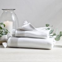 St Ives Hammam Towel , White Grey, Bath Towel
