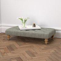 Hampstead Rectangular Tweed Footstool, Tweed Mid Grey, One Size