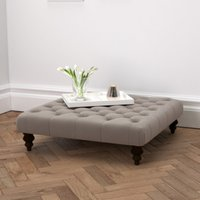 Hampstead Square Velvet Footstool, Silver Grey, One Size