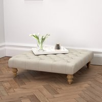 Hampstead Square Linen Union Footstool, Natural Linen Union, One Size