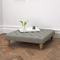 Hampstead Square Tweed Footstool, Tweed Mid Grey, One Size