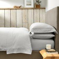 Harrington Duvet Cover, White/Soft Grey, Single