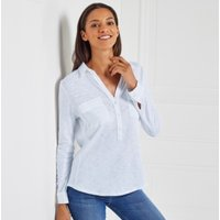 Cotton Half Button Long Sleeve Shirt
