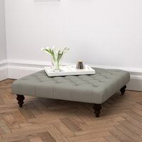 Hampstead Square Cotton Footstool, Grey Cotton, One Size