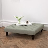 Hampstead Square Wool Footstool, Light Grey Wool, One Size