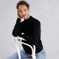 Heart Funnel-Neck Jumper with Cashmere , Black, 6