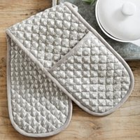 Heart Print Double Oven Glove, Grey White, One Size