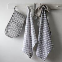 Heart Print Tea Towel – Set of 2, Grey White, One Size