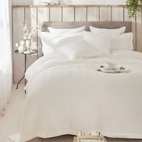 Herringbone Bedcover, White, Double