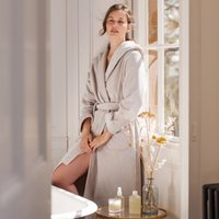 Hooded Velour Robe , Ash Rose, Small