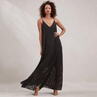 Jaquard Strappy Maxi Dress, Black, 12