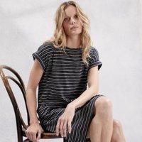 Jersey Fine Stripe Cocoon Dress, Black, 12