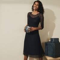 Jersey Lace Dress, Navy, 8