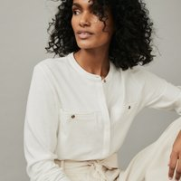 Jersey Wide-Pocket Relaxed Shirt, Ivory, 12