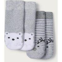 Jingles & Lumi Baby Socks - Set of 2, Grey, 6-12mths