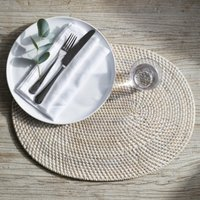 Whitewashed Oval Rattan Charger