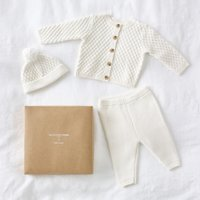 Knitted Organic Cotton Baby Gift Set, White, 3-6mths