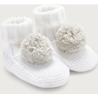 Knitted Pom-Pom Booties, White, 6-12mths