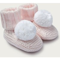 Knitted Pom-Pom Booties, Pink, 0-6mths