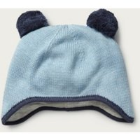 Knitted Pom-Pom Hat, Blue, 0-6mths