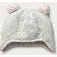 Knitted Pom-Pom Hat, Ecru, 6-12mths