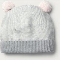 Knitted Pom-Pom Hat (1-6yrs), Grey, 1-3 years