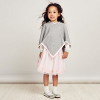 Knitted Pom-Pom Poncho (1-6yrs), Grey, 4-5yrs