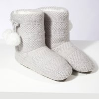 Knitted Pom-Pom Slipper Boots, Pale Grey, 6