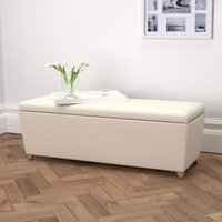 Langley Cotton Ottoman - Dark Stained Beech Leg, Pearl Cotton, One Size