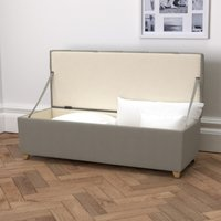 Langley Cotton Ottoman - Dark Stained Beech Leg, Grey Cotton, One Size