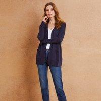 Linen-Cotton Pointelle Detail Cardigan