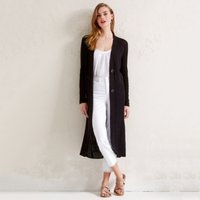 Linen-Rich Long-line Cardigan