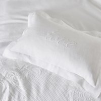 Love Embroidered Cushion Cover, White, Small Rectangle