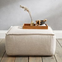 Square Linen Union Pouffe