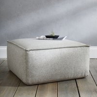 Square Wool Pouffe, Light Grey, One Size