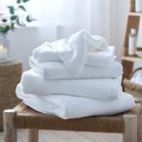 Waffle Edge Spa Towels, White, Bath Towel
