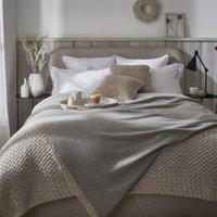 Luxury Wool Cashmere Throw, Grey, One Size