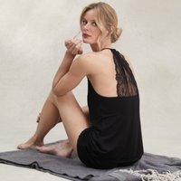Lace Back Detail Cami & Short Pyjama Set, Black, Medium