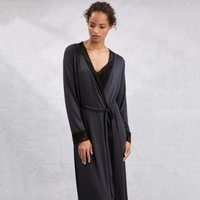 Lace Contrast Trim Robe, Midnight, Small