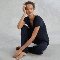 Lace Crossover Pyjama Set , Navy, Extra Small