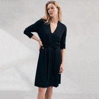 Lace Detail Robe , Black, Extra Small