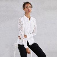 Lace Shirt , Ivory, 8