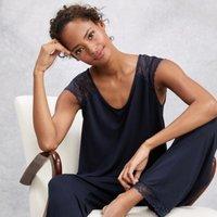 Lace Sleeve Pyjama Set, Navy, Small