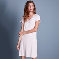Lace V-Neck Nightie, Pale Pink, Small