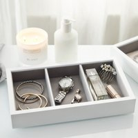 Lacquer Compartment Jewellery Tray, White, One Size
