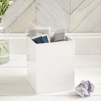 Lacquer Waste Paper Bin, White, One Size