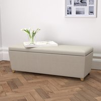Langley Cotton Ottoman - Dark Stained Beech Leg, Silver Cotton, One Size